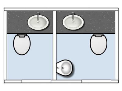 Plattegrond kleine toiletwagen